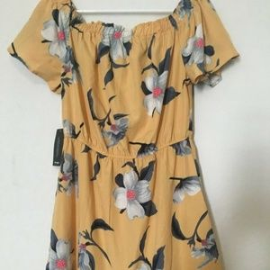 Hint of Blush Yellow Floral Off Shoulder Dress NWT